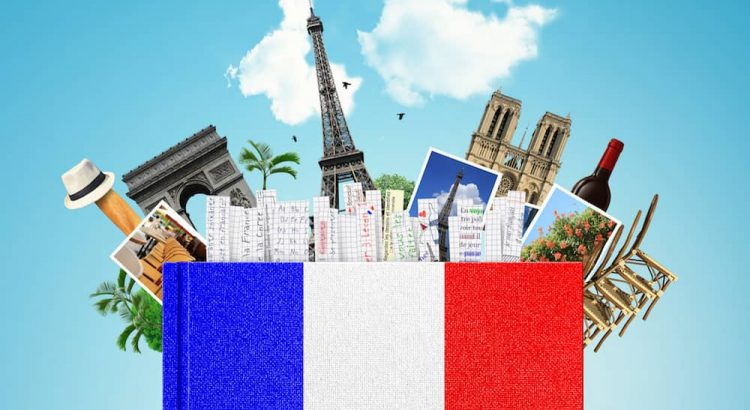 Picture of a French flag and Paris monuments