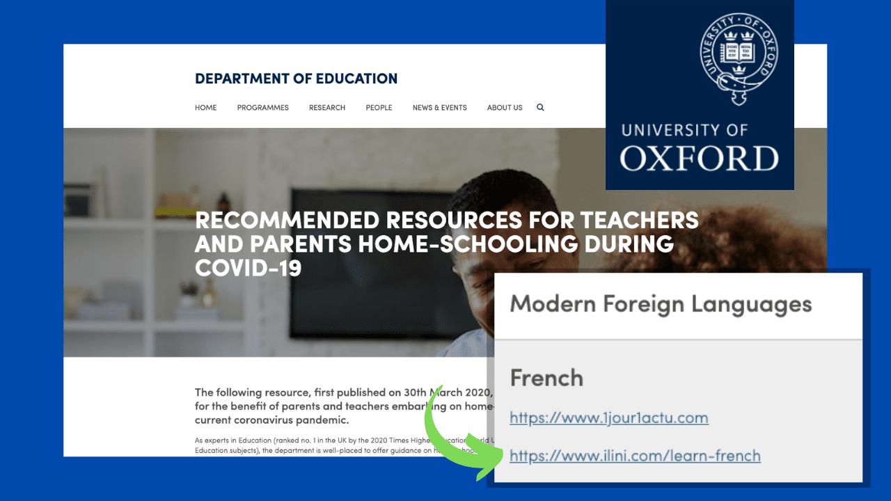 Screenshot - Oxford University's DoE recommends Ilini